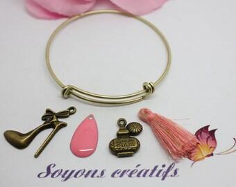 Bronze Bangle Bracelet set adjustable theme girl-pink jewelry Creations.