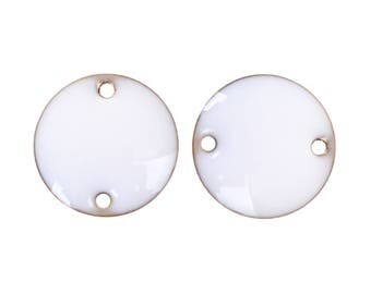 Lot 10 connectors glazed round white 12mm - creating jewelry.