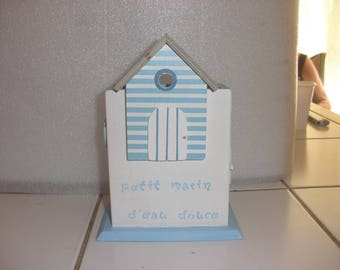 "Blue and white pencil holder wooden decor ""little sailor"""
