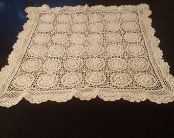 """White Crochet Lace Vintage Tablecloth 31"""" X 31"""", white crochet lace"""