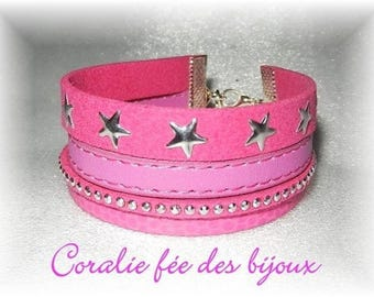 Bracelet cuff 3 rows suede and faux pink star