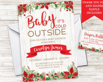 Rustic Christmas Baby Shower Invitation Invite Digital Winter Holiday Sprinkle Baby It's Cold Outside 5X7