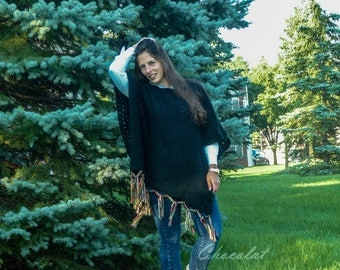 Black Poncho with colorful Fringes