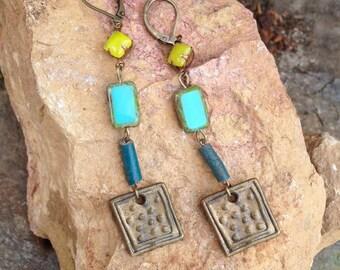earrings of antique Czech glass Egyptian