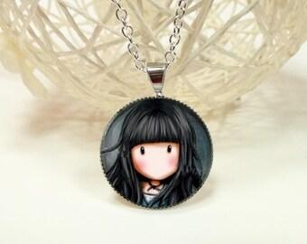 face girl cabochon pendant necklace