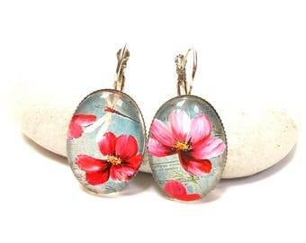 Oval earrings colorful Dragonfly flowers