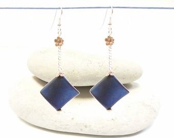 Earrings dangling dark-blue earrings