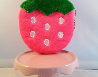 Pink Strawberry felt wallet