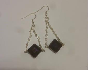 Purple Triangle Chain Earrings