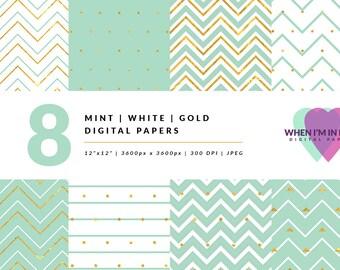 Mint Gold Digital Paper Pack, Patterns, Chevron Digital Paper Gold, Digital Scrapbooking, Digital Scrapbook Kit, Digital Scrapbook Paper