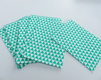 10 envelopes geometric pattern green and white 11.4X16.2 cm rectangular envelope