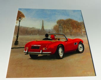 card Paris couple in red convertible Eiffel Tower