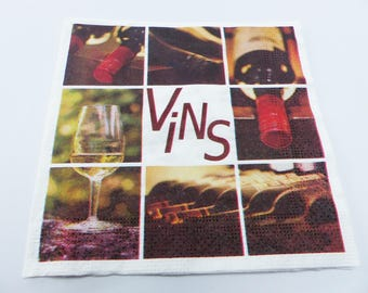 4 wine bottle glass 33 X 33 cm format lunch napkin