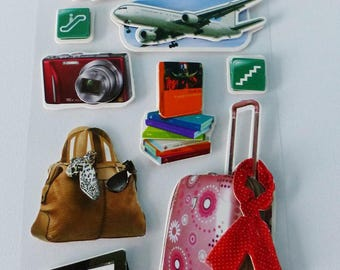 travel passport case camera plane airplane 3D stickers travel guide airport signage
