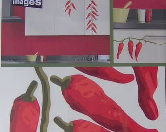 Wall decals or 2 red peppers kitchen boards blister