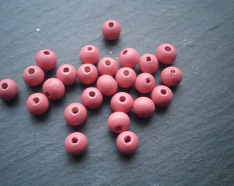 lot 20 8 mm watermelon red wooden beads