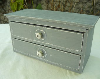 Box 2 drawers in weathered gray wood