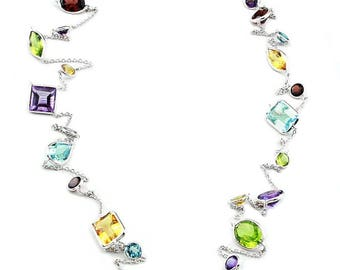 14K WhiteGold Handmade Necklace With Regular Cut Gemstones By The Yard 36 and 40 Inches