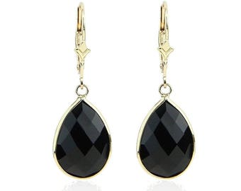 14K Yellow Gold Handmade Earrings With Dangling Pear Shape Black Onyx