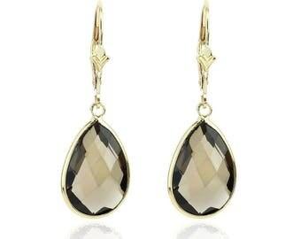 14K Yellow Gold Gemstone Earrings With Dangling Pear Shaped Smoky Quartz