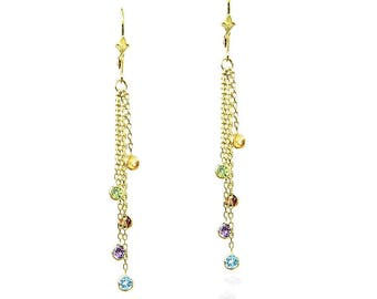 14k Yellow Gold Chandelier Earrings with Round Gemstone Stations By The Yard