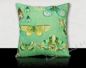 "Pillow ""CHARONDA"" lovely specimens of butterflies on background yellow/purple/pink/Turquoise/purple/Orange/Green Jade."