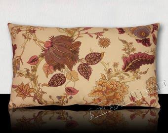 Pillow toile de Jouy plum/white/violet/purple/white/old rose, saffron, beige, hazelnut.