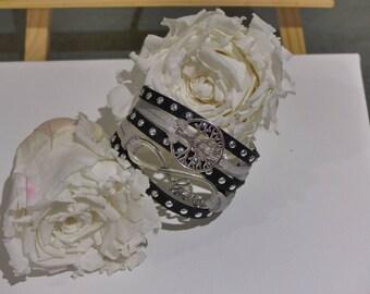Black Cuff Bracelet - gray