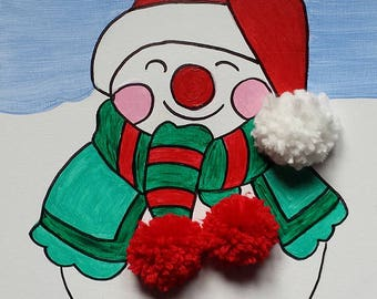 A cute snowman wrapped up in his scarf and hat
