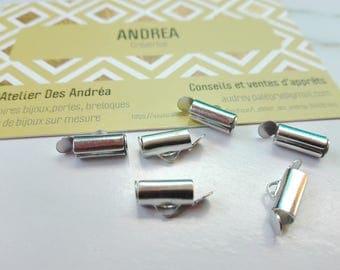 Set of 10 zipper end caps ☆ / 10 x 5.5 x 4 mm / Platinum/laiton☆
