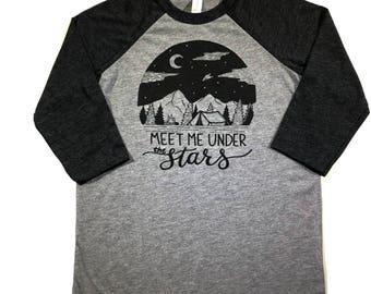 Kids Camping Shirt - Meet Me Under The Stars