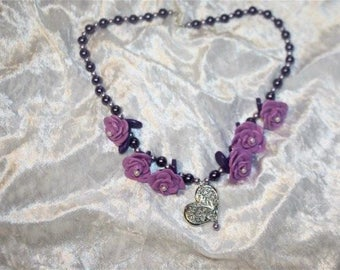 mother of pearl beads, flowers and pendant necklace