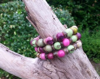 spiral bracelet in the Amazon acai seeds