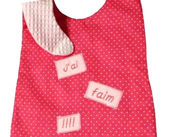 """Loving pink bib embroidered """"I'm hungry!""""  12-36 months"""