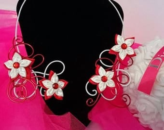 Handmade red and white satin flower red and white