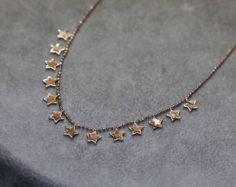 14K Gold Stars Necklace , Gold Necklace Available in 14k Gold, White Gold or Rose Gold