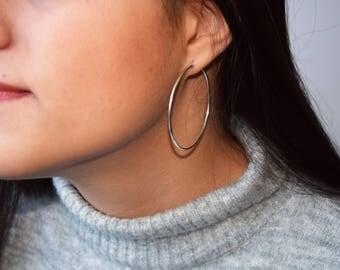 Sterling Silver Hoop Earrings, Delicate Hoop Earrings, Large Silver Hoop Earrings, Minimalist Jewellery,Modern Hoop Earrings,Simple Earrings