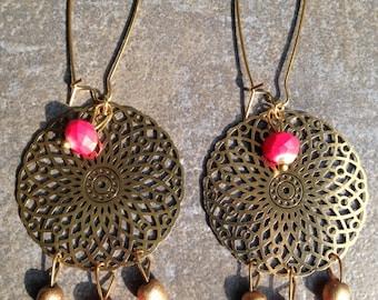 Bronze earrings print, multi coral beads