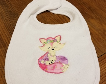 Mommy and Baby Fox Bib