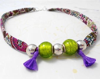 liberty necklace tassel and cotton, silver, purple and green