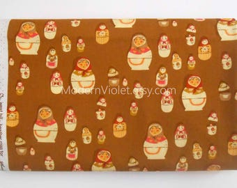 Heather Ross Matryoshka Dolls in Brown, West Hill by Heather Ross for Free Spirit Fabrics, Rare OOP