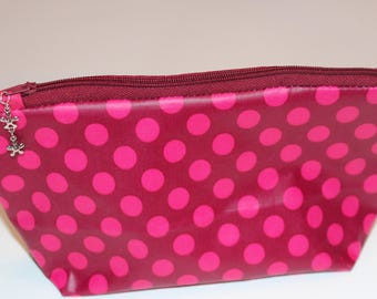 pouch pink with polka dots