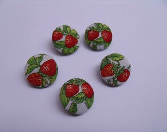 Covered buttons with two small strawberries
