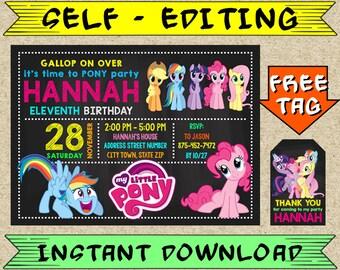 EDITABLE My Little Pony Invitation, My Little Pony Birthday, My Little Pony Party, Twilight Sparkle, Rainbow Dash, Pinkie Pie, Flushter Shy
