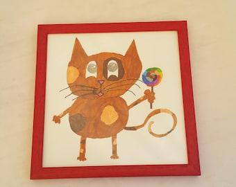 Bilou THE original! framed original drawing! drawing by kids for kids!