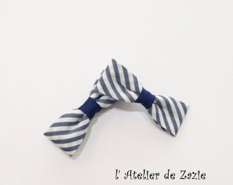 Hair clips in hair bow on the bias of white cotton striped Navy blue X 2