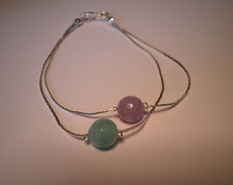 01176 - Double serpentine chain and pearl bracelet purple and green jade