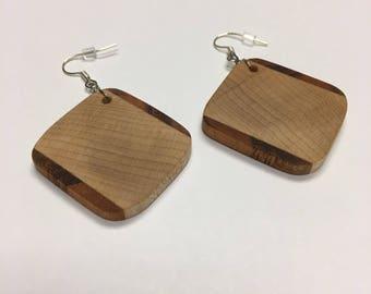 Hand Made Maple and Tigerwood Hardwood Earrings