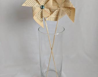 Book Page Pinwheels with Button