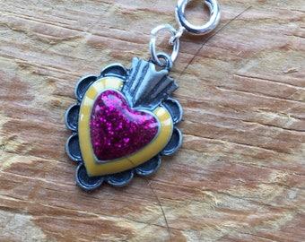 Glitter Heart's A Fire Charm for Bracelet